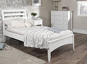 Bett weiß holz  Edward Hopper 3 Ft Single Bett. Weiß Holz Single Bett. Sehr Stabil ...