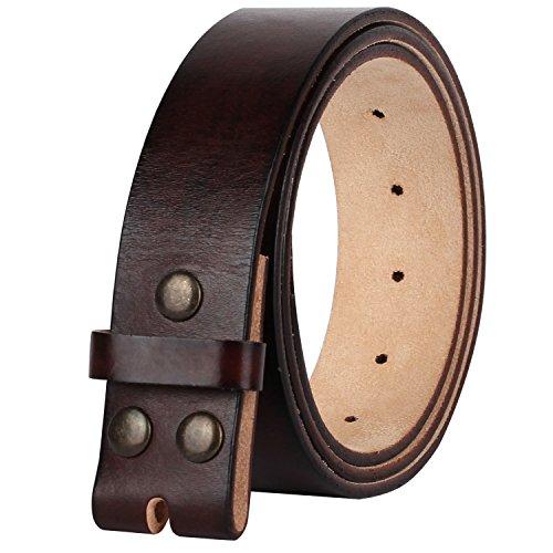 Cowboy Leather (NPET Men's Genuine Leather Belt Full Grain Snap On Belts 1.5