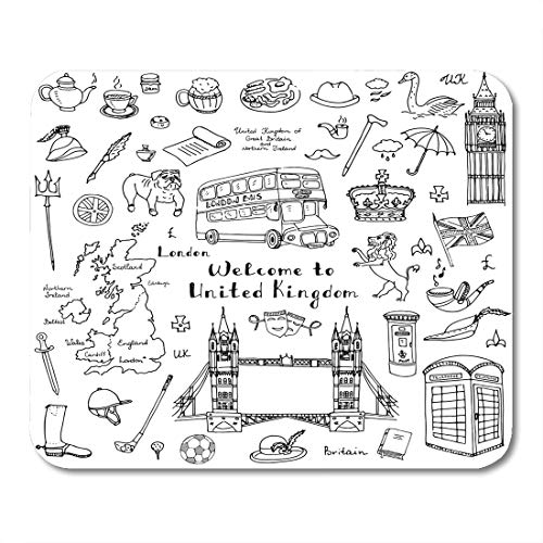 Boszina Mouse Pads Doodle United Kingdom UK Welcome to London British Symbols Collection Tea Bus Horse Riding Golf Crown Mouse Pad for notebooks,Desktop Computers mats 9.5