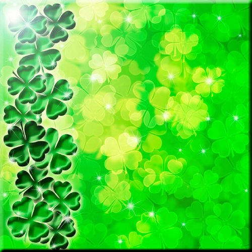 Rikki Knight Four Leaf Clover on Shamrock Irish Design Ceramic Art Tile, 6