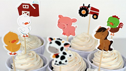 Efivs Arts 24 Pcs Farm Animals Cake Cupcake Decorative Cupcake Topper for Kids Birthday Party Themed Party Baby Shower