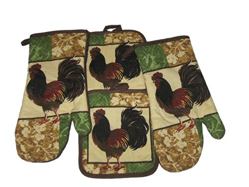 Rooster Brown Green Cotton Oven Mitts and Potholders Set (4 -