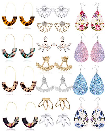 WAINIS 15Pairs Resin Acrylic Earrings Leather Earrings Lotus Jacket Earrings Set for Women Girls Dangle Drop Fashion Ear Jewelry