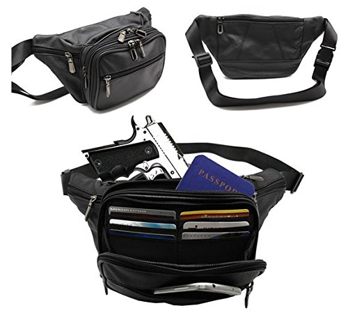 New Batch Black Cow Leather Fanny Pack Gun Hip Pack Fits Sig Sauer P238 Ruger LCP, Kel-Tec, S&W Bodyguard,Taurus TCP, Diamondback 380 Kahr P380,Small Derringers,etc 6 Cards Slot .Belly Moon - Vuitton Case Louis Sunglass