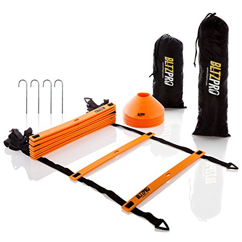 BltzPro Agility Speed Ladder 11 flat rungs Bundle with 10 Sports Cones ,Bonus 2 Carrying Bags 4 Metal pegs and Agility Drills Ebook,A Multi sport training tool. (Football Equipment)