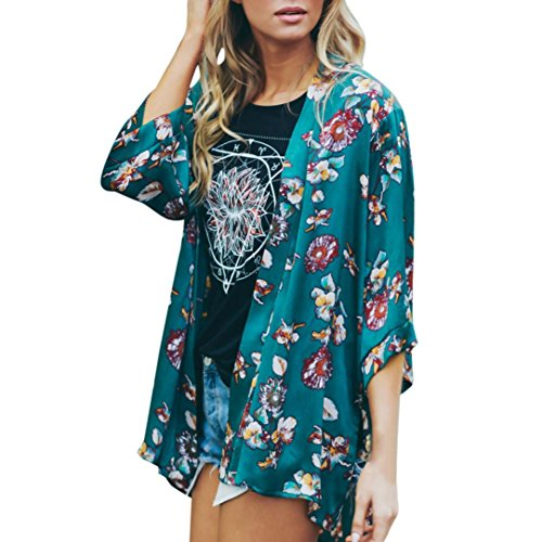 Sumen Hot Sale!!! Women Floral Chiffon Flare Sleeve Kimono Cardigans Side Slit Shirt Cover Ups (XL, Green)