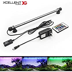 Xcellent Global Aquarium Light Fish Tank Lights Remote Control Underwater 18 LED Submersible Waterproof RGB 40cm 16 Color Changing