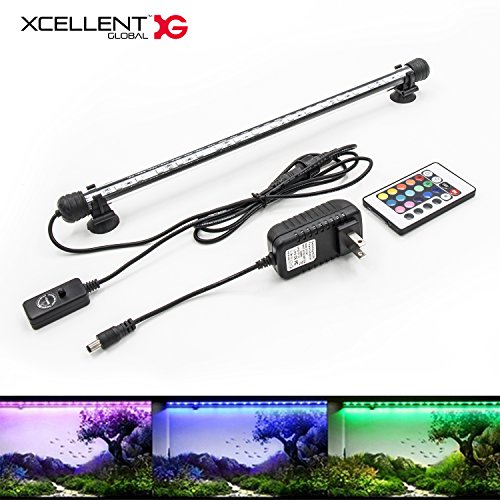 (Xcellent Global Aquarium Light Fish Tank Lights Remote Control Underwater 18 LED Submersible Waterproof RGB 40cm 16 Color Changing )