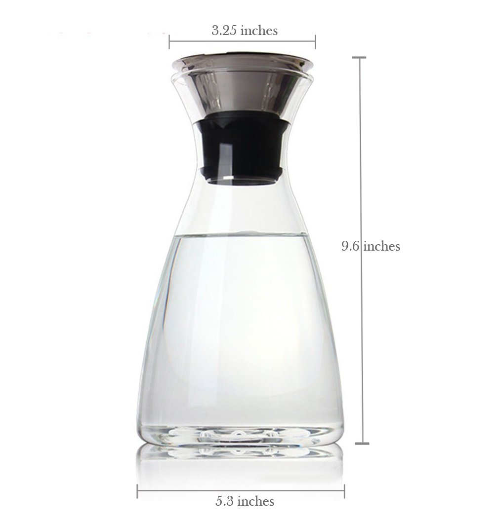 Summit One 50 Ounces Glass Carafe with Stainless Steel Flip-top Lid, Heat Resistant Perfect for Iced Coffee or Tea maker, Infused Water, Decanting and Serving Wine