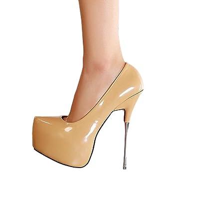 3e9400ca9dc7 OCHENTA Femme escarpin taille 35-44 talon aiguille haut plateforme  invisible epais pour marcher plus facilement adaptable pour club soiree  sexy  Amazon.fr  ...