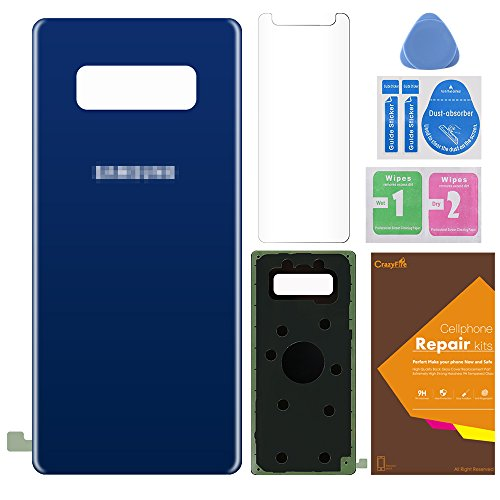 Back Glass Cover Battery Door Replacement For Samsung Galaxy Note 8 N950,CrazyFire Tempered Screen Protector with Adhesive and Opening Tool for Samsung Galaxy Note 8(Blue)