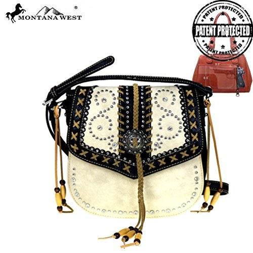 Montana West Concho Collection Concealed Handgun Saddle Bag Crossbody (Beige)