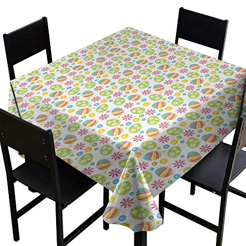 (OUTDRART 3D Printed Tablecloth Easter,Patchwork Style Graphic Scrapbook Pattern with Daisy Sewing Buttons and Egg Figures,Multicolor,W60 x L60 Square Tablecloth)