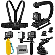 Accessory Kit for GoPro HERO5 Black / Session 4K Action Camera with X-Grip Stabilizer, HandGrip, Floating Handle, LED Video Light, Chest Mount, Tripod Adapter, Car Window Suction Cup, Microfiber Cloth