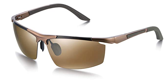 WHCREAT Gafas de Sol Polarizadas para Deporte Hombres con Marcos AL-MG Ultraligeros(Marco