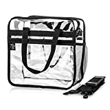 Large 12 X 12 X 6 Clear Bag with 2 Zippered Pockets & Drink Pocket Approved for NFL & College Football Security, Transparent Stadium Bag for PGA, Concerts & Work, Clear Purse with Crossbody Strap