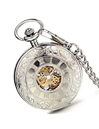 Lancardo Roman Number Carve Skeleton Cover Dial Gold Tone Movements Pocket Fob Watch(Silver)