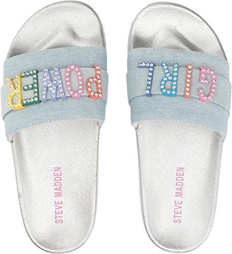 Steve Madden Girls' Jwords Slide Sandal, Denim, 13 M US Little (Athletic Denim Sandals)