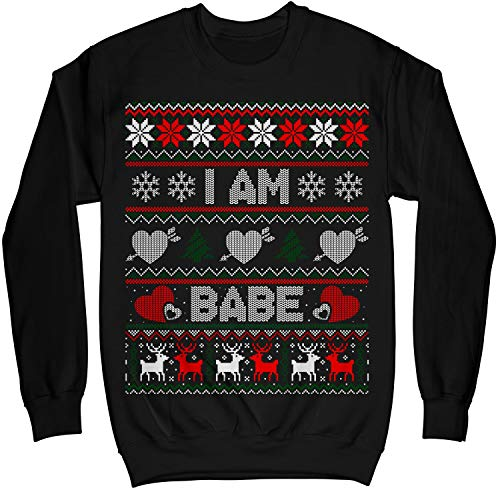 Couples Christmas I Am Babe and If Lost Return to Babe Ugly Sweater Shirt - Noel Merry Xmas Sweatshirt