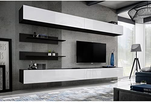 Paris Prix Meuble Tv Mural Design Fly Vi 320cm Blanc Noir Amazon Fr Cuisine Maison