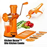 Kitchen Bazaar Elite Kitchen Combo of 3-Manual Juicer With Steel Handle, 6 In 1 Multi-Purpose Slicer & 2 In 1 Multi Veg Cutter with Peeler, Orange
