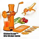 Kitchen Bazaar Elite Kitchen Manual Juicer Slicer Veg Cutter,(Combo of 3,Orange)