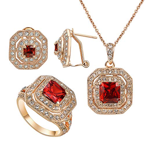vogem Ruby Gold Jewelry Sets for Women 18K Rose Gold Earrings Necklace Cushion Cut Ring Bridal Engagement Rhinestone Jewellery Set