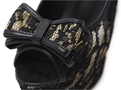 Stiletto Sbirciare piede sandali Dito XIE Vestito 6 Discoteca 6 Donna Sexy 5 Tacco piattaforma L UK Bowknot Festa alto del Scarpe 39 EUR Nero PfvnWxO