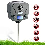 Ultrasonic Solar Repeller & Pest Repeller – With 1 Speaker & 30' Motion Sensor – Flashing LED Light – With NEW Wall Mounting Option – Pest Control for Raccoon, Rabbit, Birds, Deer, Cats, Dogs & Pests