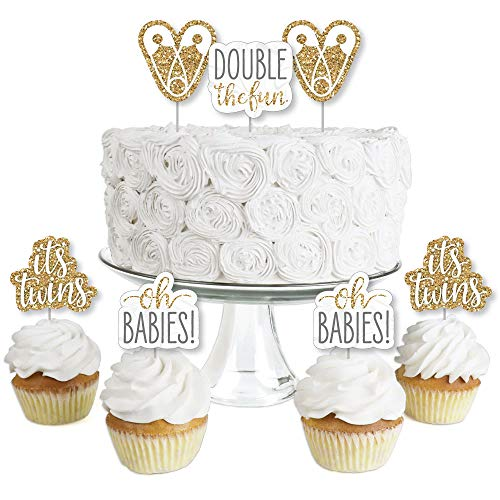 It's Twins - Dessert Cupcake Toppers - Gold Twins Baby Shower Clear Treat Picks - Set of 24