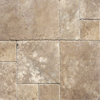 Random Sized Unfilled and Chipped Travertine Mosaic in Tuscany Walnut