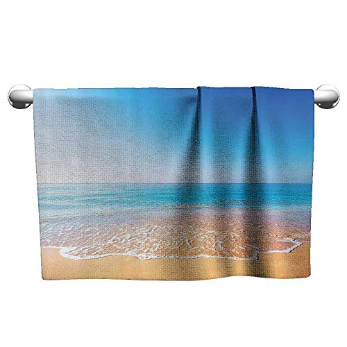DUCKIL Bathroom Hand Towels Set Ocean Decor Collection Golden Beach and Tropical Sea Scenery with Endless Sky on The Back Summer Sun Peace Print Fancy Bath Sheet 20 x 20 inch Mustard Blue ()