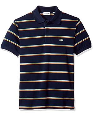 Men's Short Sleeve Striped Pique Regular Fit Polo, PH4565