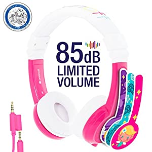Explore Foldable Volume Limiting Kids Headphones - Durable, Comfortable & Customizable - Built in Headphone Splitter and In Line Mic - For iPad, Kindle, Computers and Tablets - Pink