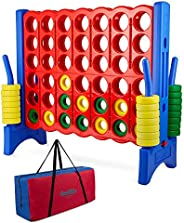Giant 4 in a Row Connect Game - Storage Carry Bag Included - 4 Feet Wide by 3.5 Feet Tall - Oversized Floor Ac