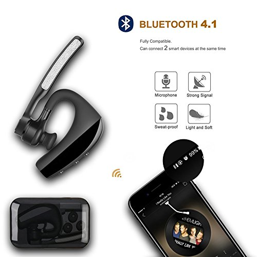 Bluetooth Headset, Wireless Bluetooth Earpiece with Mic Mute Switch Headset for Trucker Handsfree Earphone, V4.1 Bluetooth Headphones Compatible for Smart Phone (K10_Black) by ERUW (Image #3)