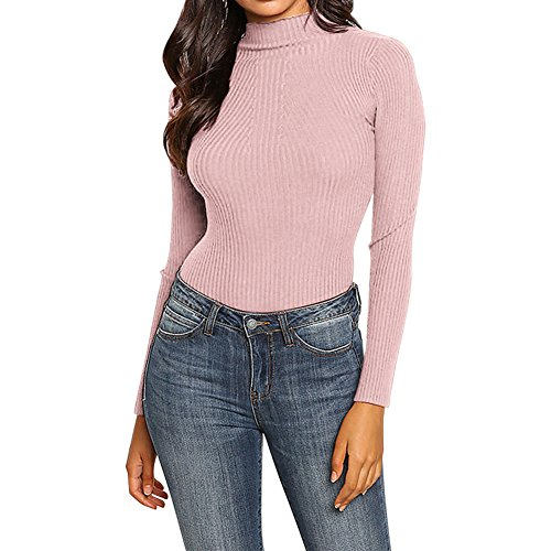Sweater Basique Femme Chaud Uni Longues Slim Automne Rose Sweat shirt Manches Top Casual Hiver Pull Tricot Semen Pull over qEC0Zq