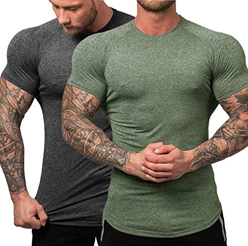 URRU Mens Quick Dry Workout T-Shirts Compression Athletic Baselayer Tee Gym Training Tops S-XXL