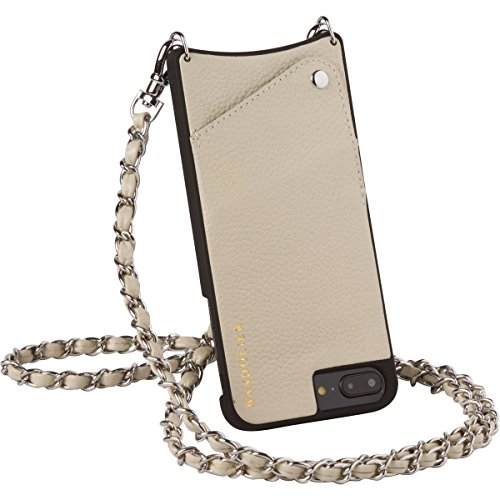 Bandolier [Lucy] iPhone 8 Plus, iPhone 7 Plus, iPhone 6 Plus Case and Strap + Wallet Case w/Credit Card Holder. Ivory Leather & Silver Hardware Details, Removable Strap. Protective Shockproof Shell. by Bandolier