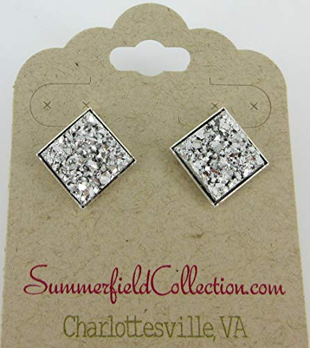 Silver Geometric Square Shaped Chunky Faux Druzy Stud Earrings 12mm Statement