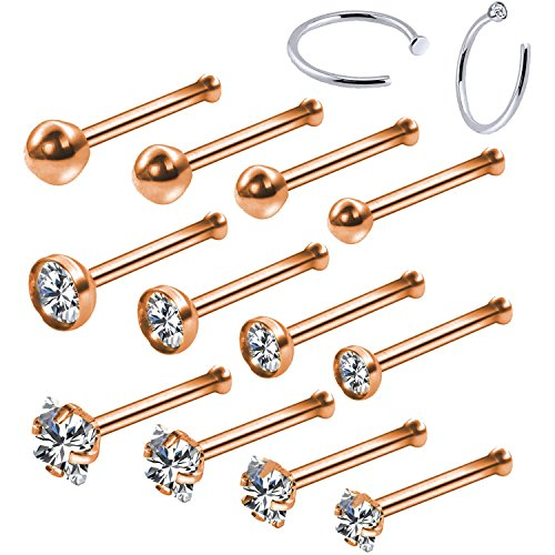 (BodyJ4You 14PC Nose Bone Studs Hoop Ring 20G Rose Goldtone Pin CZ Nostril Girl Women Piercing Jewelry)