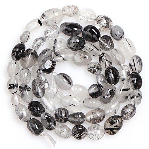 Joe Foreman Black Rutilated Quartz Beads for Jewelry Making Natural Gemstone Semi Precious 6x8mm Freeform Potato Shape 15