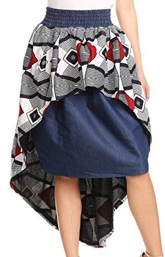 Sakkas Bahati Hi Low Mermaid African Ankara Dutch Wax Cotton Skirt Colorful Waxwhitetribal4
