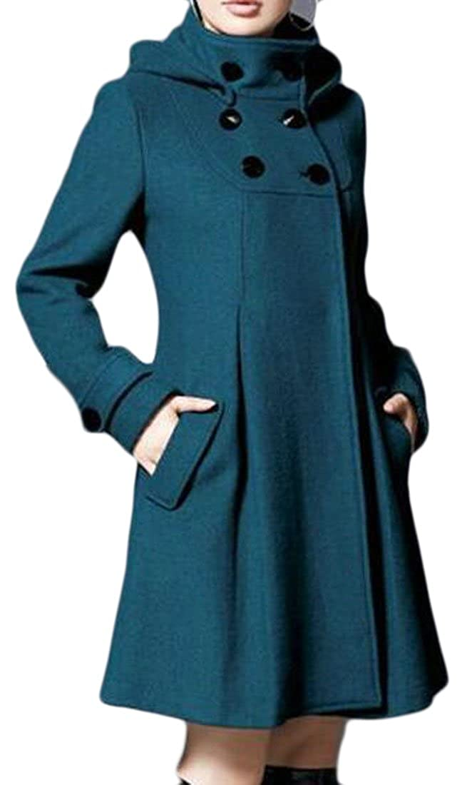 Cruiize Womens Winter Cape Cloak Double-Breasted Swing Pea Coat Jackets