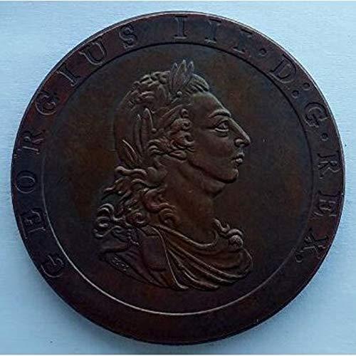Rare Antique European United Kingdom British UK 1797 Britania Georgius III 1 Penny - George III King Great Britain Coin ...