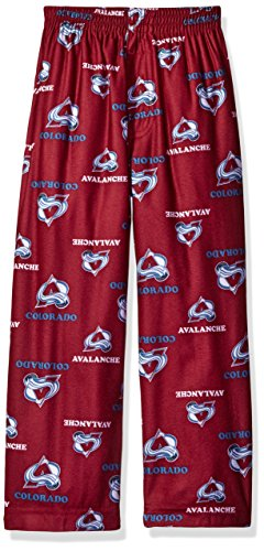 OuterStuff NHL Colorado Avalanche Boys 4-7 Sleepwear All Over Print Pants, Large (7), Burgundy (Pants Hockey Avalanche)