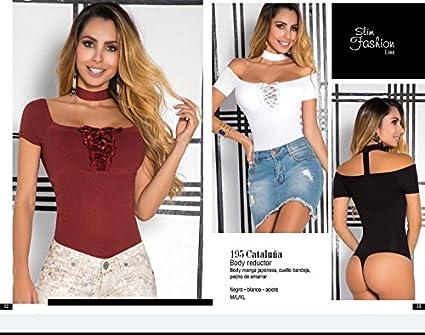 Moda Colombiana Womens Body Shaper Blouse Blusa Fajas Colombianas Ab Control Ref Cataluña (M-