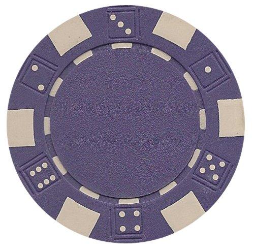 Purple Poker Chip - DA VINCI 50 Clay Composite Dice Striped 11.5-Gram Poker Chips (Purple)