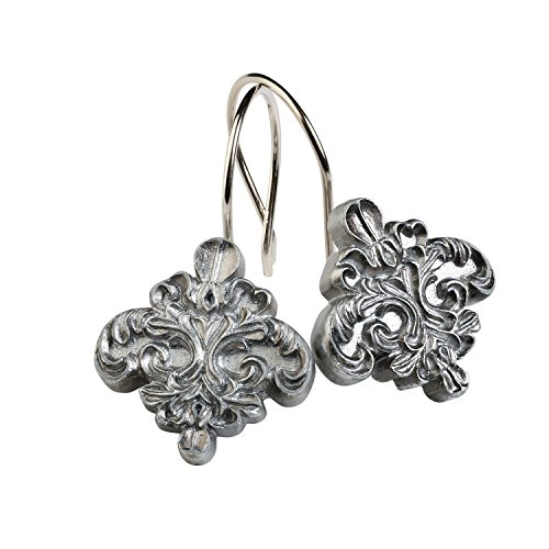 Zenna Home, India Ink Alexa Shower Curtain Hooks, Brushed Silver by Zenna Home