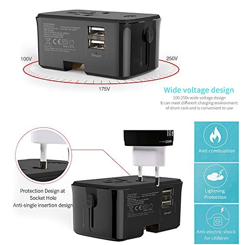 40000KM Travel Adapter with Wireless Charger Pad Universal All-in-one Plug Charger Adapter For 1500W High Power Appliances Dual Smart USB Port SW6207 (Black)